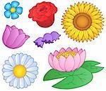 Various flowers set - vector illustration.