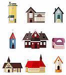cartoon house icon set