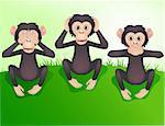 Three wishes monkey, hear no evil, speak no evil, see no evil