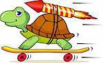 Turtle and rocket cartoon
