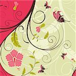 Flower frame with butterfly, element for design, vector illustration