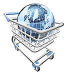 Conceptual illustration. A shopping cart containing a globe