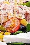 Olive oil jet over a colorful salad