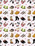 cartoon shoes set seamless pattern