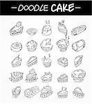hand draw cartoon cake icons set