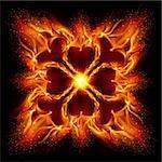 Burning fire cross Illustration on black background for design