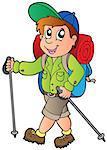 Cartoon hiker boy - vector illustration.