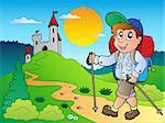 Cartoon hiker boy near castle - vector illustration.