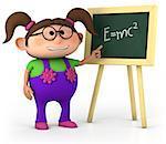 smart little gir with blackboard - high quality 3d illustration