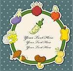 Carte des fruits et légumes santé de dessin animé