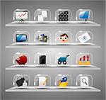 Website Internet Icons ,Transparent Glass Button