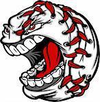 Cartoon Baseball with Screaming Face