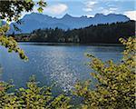 Gamme de feuilles d'automne, lac Barmsee, Karwendel, Fabrice, Haute-Bavière, Bavière, Allemagne