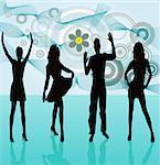Young people dancing - vector