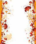 Grunge paint flower frame, element for design, vector illustration