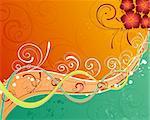 Grunge paint flower background with stripes, element for design, vector illustration