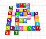 3d color boxes crossword - business; success; strategy; project; plan; job; team; money; yield;