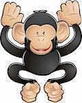 A vector illustration of a cute friendly chimpanzee