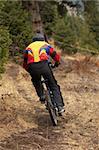 Mountain biker on downhill race in forest
