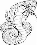 Black and white illustration of a cobra snake preparing to strike