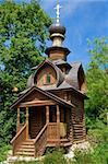 An old orthodox log wooden chapel near St. Sava's spring, Sergiev Posad, Russia