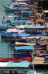 "Rustic fishing boats on ""Jaruco"" river on Havana, cuba"