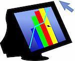 Illustration de graphe dans un écran d'ordinateur