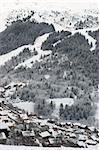A view of the Meribel ski resort after snow storm