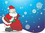 illustration happy santa with his gift bag