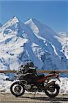 Motorbike in Grossglockner high alpine road, National Park Hohe Tauern, Austria