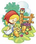 a digitally illustrated cute girl in the farm