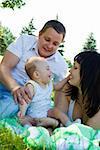 Family having fun in the city park