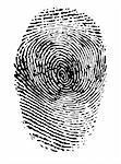 Fingerprint black on white vector illustration