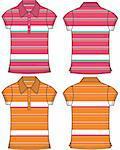 lady fashion stripe pattern polo