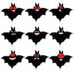 Set of nine cartoon bats. Vector illustration.