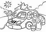 Cartoon image of two kids washing a car - black / white version.