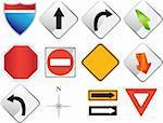 Set of road sign navigation icons.