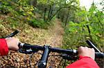 Biking. Mountainbike in the autumn forest.