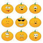 Set of nine cartoon pumpkins. Vector illustration.