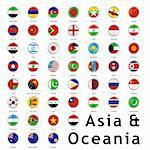 fully editable vector isolated asian flags