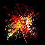 Bright red hot ink splat design with black background