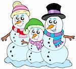 Snowman family on white background - vector illustration.
