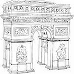 Hand drawn illustration of Paris Triumph Arc