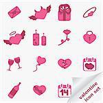 Valentine icon set. Vector illustration.