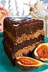 Slice of chocolate cream cake with guava fruit