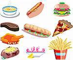 Vector Illustration of ten types of prepared food.