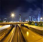 Cityscape traffic at night