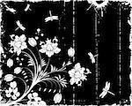 Grunge paint flower frame with dragonfly, element for design, vector illustration