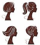 vector beautiful women silhouettes