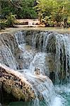 Waterfall Kuang Si in the jungle near Luang Prabang, Laos